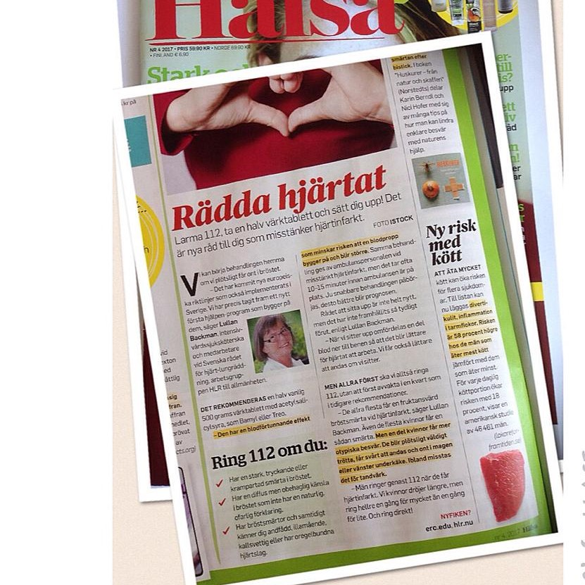 Tidningen Hälsa sprider kunskap om första hjälpen vid hjärtinfarkt till sina läsare.